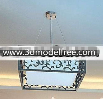 Chinese carved square pendant lamp 3D Model