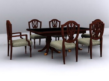Chinese combination of two sets of tables and chairs 3D Model