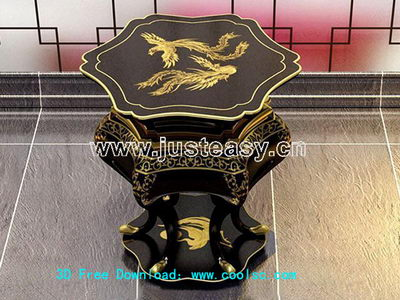 Chinese Dragon 3D Model of carved wooden bench