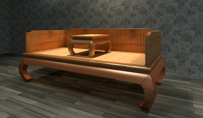 Chinese Furniture Ocean Bed 3D Model