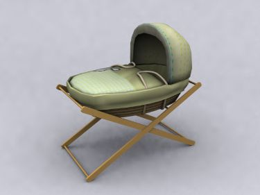 Chinese green pattern Baby Crib 3D Model