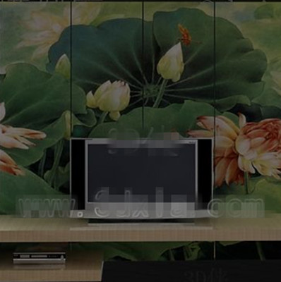 Chinese lotus pond screen TV wall 3D Model