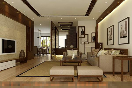 Chinese modern and simple style living room 3D Model