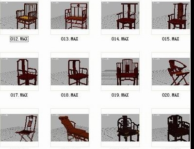 Chinese Old Style Chairs 3D Model