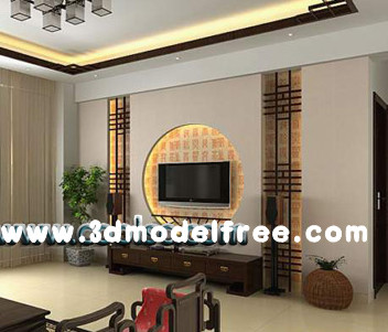 Chinese simple style living room 3D Model