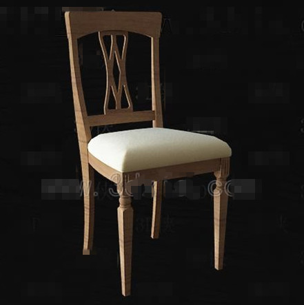 Chinese simple wooden chair 3D Model