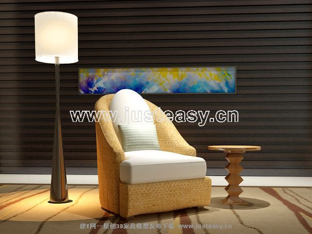 Chinese soft sofa fabric 3D Model