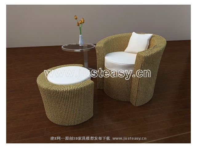 Chinese soft sofa fabric combinations 3D Model