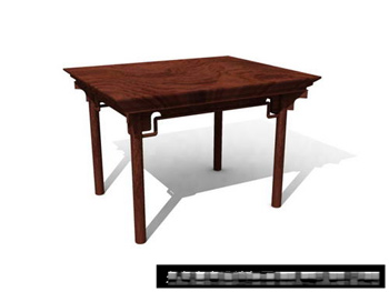 Chinese square table wood furniture 3D Model