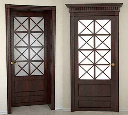 Chinese style Brown Doors 3D Model