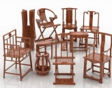 Chinese-style chairs set (VR material with a complete map) 3D Model