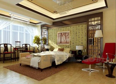 Chinese style charm warm bedroom 3D Model