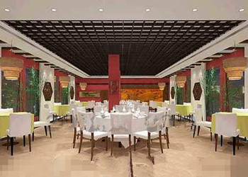 Chinese-style decoration spacious restaurant 3D Model
