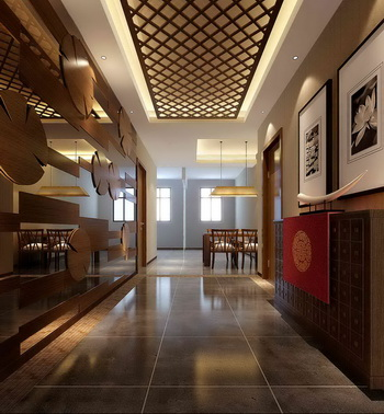 Chinese-style entrance hall corridor 3D Model