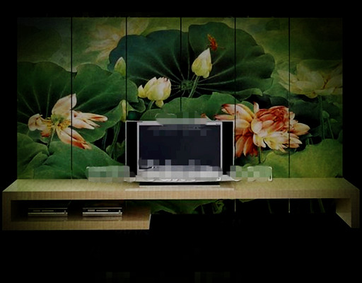 Chinese style lotus pond screen TV wall 3D Model
