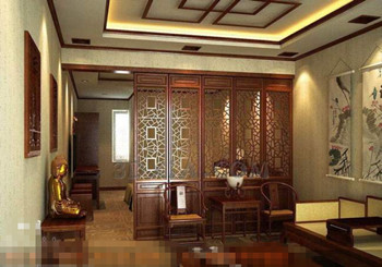 Chinese style mahogany screen living room 3D Model