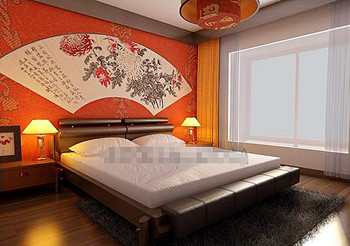 Chinese style orange simple bedroom 3D Model