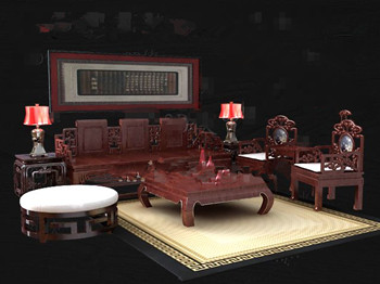 Chinese style red wooden tea table combination 3D Model
