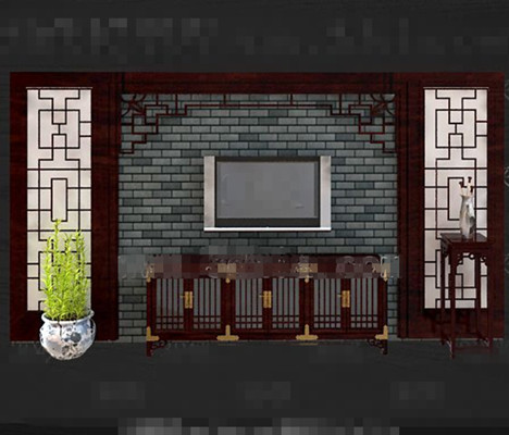 Chinese style retro red wooden TV wall 3D Model