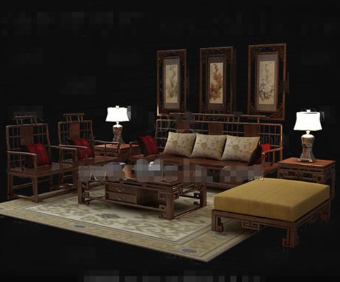 Chinese style retro wooden sofa combination 3D Model