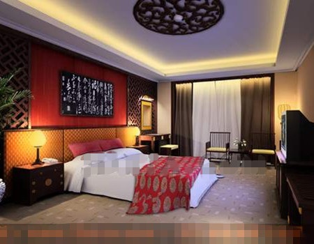 Chinese style screen background wall bedroom 3D Model