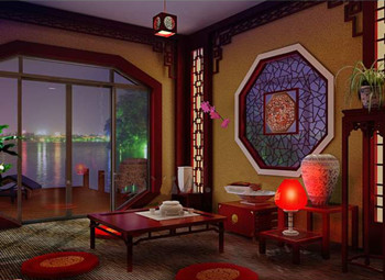 Chinese style screen retro living room 3D Model