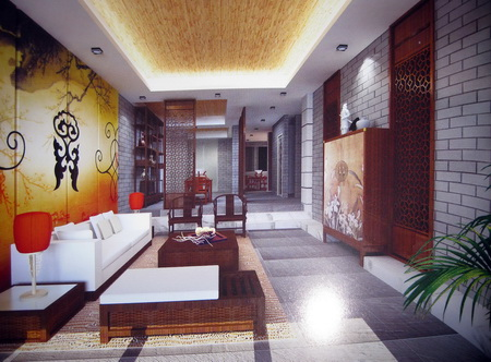 Chinese style shift gate abstract 3D model of the living room (including materials)