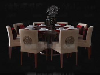 Chinese style wooden round dining table 3D Model