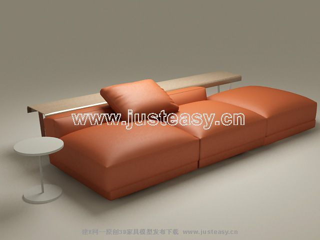 Chinese super-soft leather sofa 3D Model