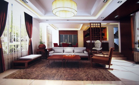 Chinese Wooden living room (including materials) 3D Model