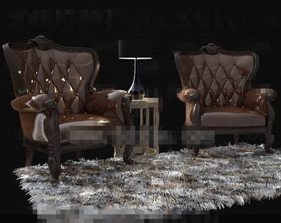 Chocolate single leather wooden sofa 3D Model