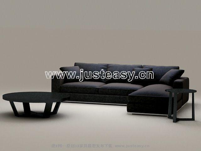 Classic combination of black sofa 3D Model