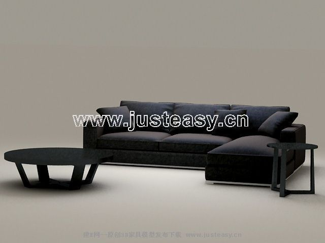 Classic combination of black sofa 3D Model