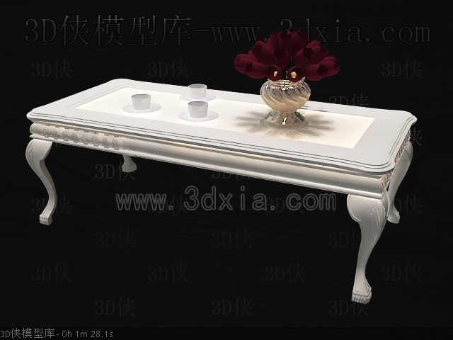 Classic simple white tea table 3D Model