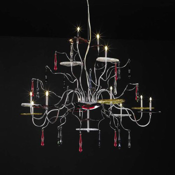 Classic wrought iron red crystal chandelier 3D Model