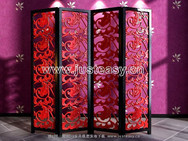 Classical carved red screen 3D model (including materials)