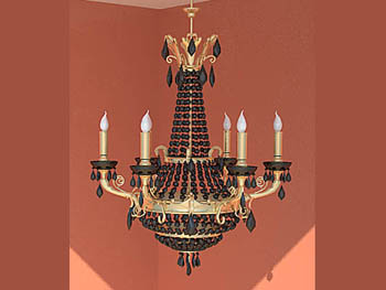 Classical color of the candlestick-like chandelier 3D Model