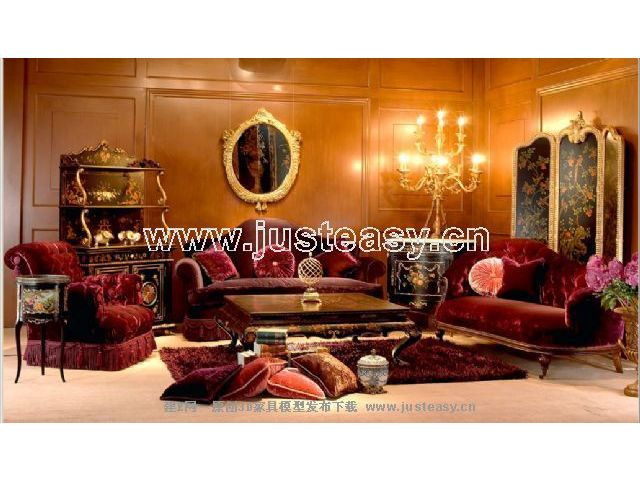 Classical combination of a 3D model of luxury furniture (including materials)