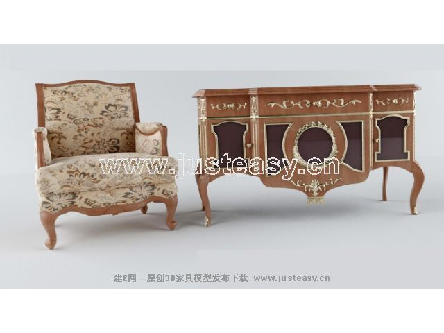 Classical combination of luxurious chairs cabinet 3D Model