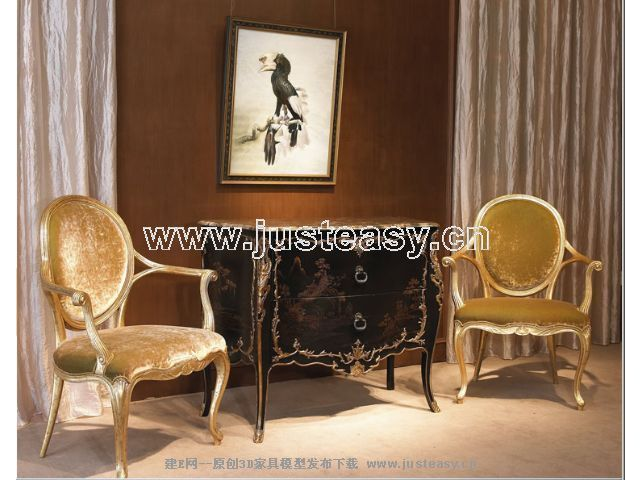 Classical combination of luxury chair 3D Model