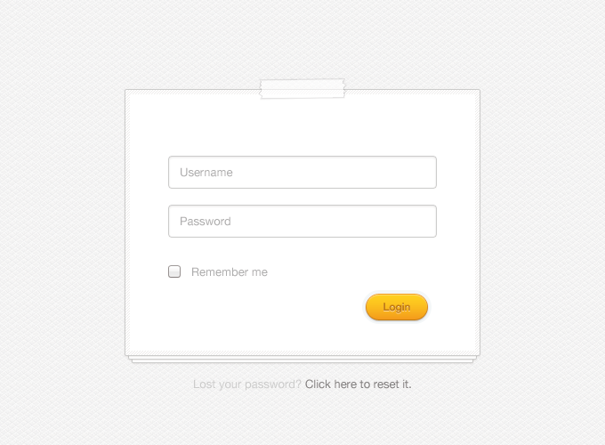 Clean Login Form PSD
