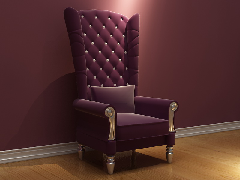 Cloth high-back chair soft single 3D model (including materials)