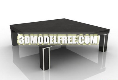 Coffee table square table dresser solid wood furniture, wooden table with a round-table table 3D Model of