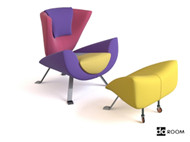 Color stitching creative arts chairs 3D Model