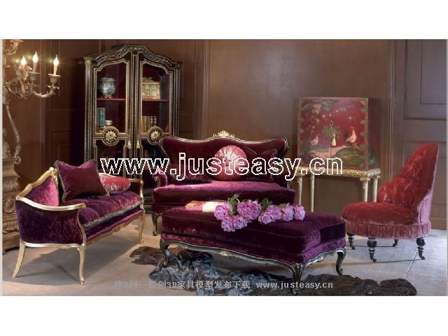 Combination of a low-key luxury sofa 3D Model