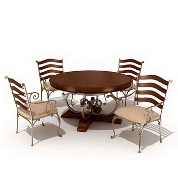 Combination of casual dining tables and chairs 3D Model