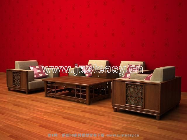 Combination of modern Chinese wooden sofa 3D Model