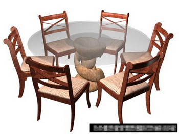Combination of open-air yard tables and chairs 3D Model