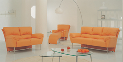 Combination of orange leisure sofa 3D model home (including materials)
