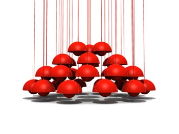 Combination of spherical red chandelier 3D Model